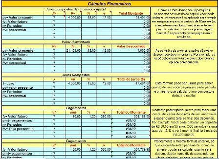 Diversos Cálculos Financeiros