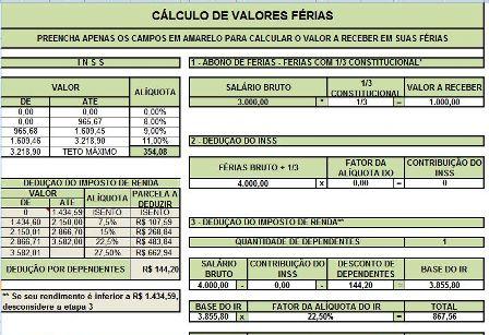 Cálculo Para Contagem de Férias