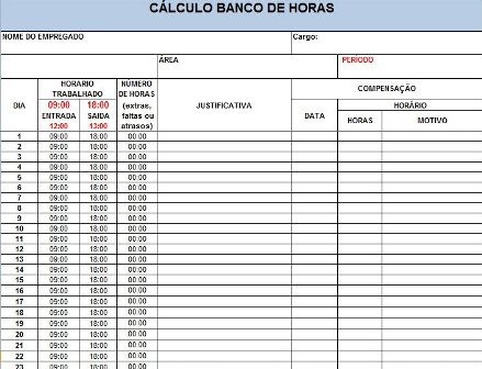 Planilha Excel de Cálculo para Banco de Horas