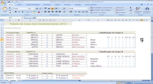 Tabela de Jogos da Copa das Confederações 2013 no Brasil