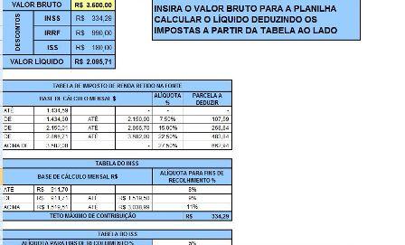 Tabela para Cálculo de Impostos
