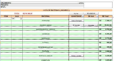 Tabela para Lista de Materias